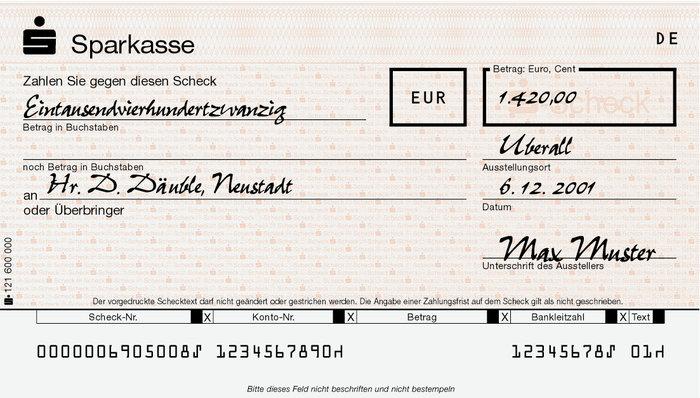 Geld Scheck