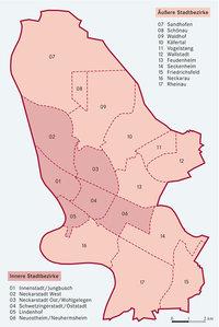 Bezirk - Karte mit den Bezirken einer Stadt (hier: Mannheim)