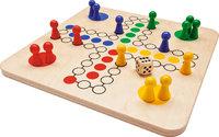 Brett - Brett mit Spielfeld, Figuren und Würfel