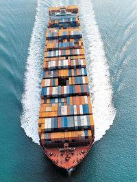 Container - Container auf einem Schiff