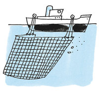 Fischernetz - Boot mit Fischernetz