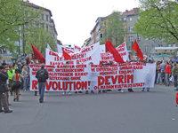 Gegner - Gegner der bestehenden Gesellschaftsordnung bei einer Demonstration