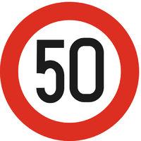Geschwindigkeitsbegrenzung - Schild, das eine Geschwindigkeitsbegrenzung von 50 km/h vorgibt