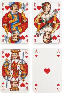 Herz - Spielkarten Bube, Dame, König, Ass mit Herz als Farbe