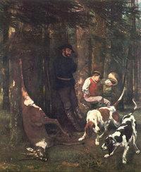 Jagd - Künstlerische Darstellung einer Jagd (von G. Courbet)
