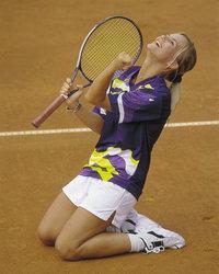 Jubel - Jubel einer Tennisspielerin