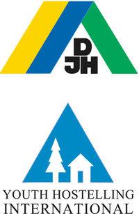 Jugendherberge - Jugendherbergen Emblem des Deutschen Jugendherbergswerks (oben) und der International Youth Hostel Federation (unten)