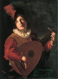Laute - Ein Lautenspieler spielt auf der Laute (Kunstwerk von Bartolommeo Manfredi aus dem Jahr 1610)