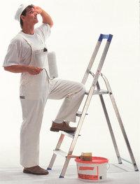Maler - Maler mit Leiter, Farbrolle und Farbe