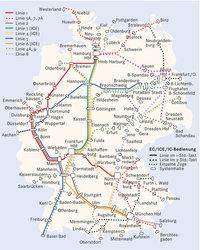 Netz - Netz der Zugverbindungen in Deutschland