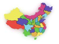 Provinz - Karte mit farbig markierten Provinzen (China)