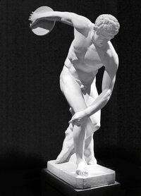 Scheibe - Statue eines Diskuswerfers mit Scheibe