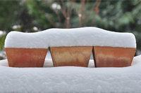 Schneeschicht - Schneeschicht auf Blumentöpfen