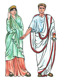 Tunika - Ein Mann und eine Frau, bekleidet mit einer Tunika