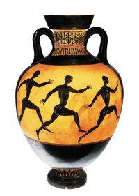 Vasenmalerei - Antike Vase mit der Darstellung eines Wettlaufs