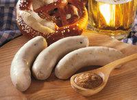 Weißwurst - Drei Weißwürste mit Brezeln und Senf