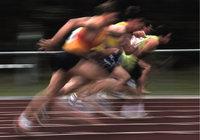 Wettkampf - Sprinter bei einem Wettkampf