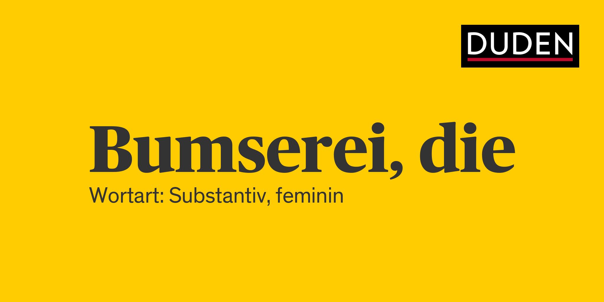 Duden | Bumserei | Rechtschreibung, Bedeutung, Definition