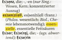 gelb unterlegte Dudenempfehlungen im Wörterbuch