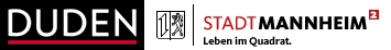 Logo Duden und Logo Stadt Mannheim