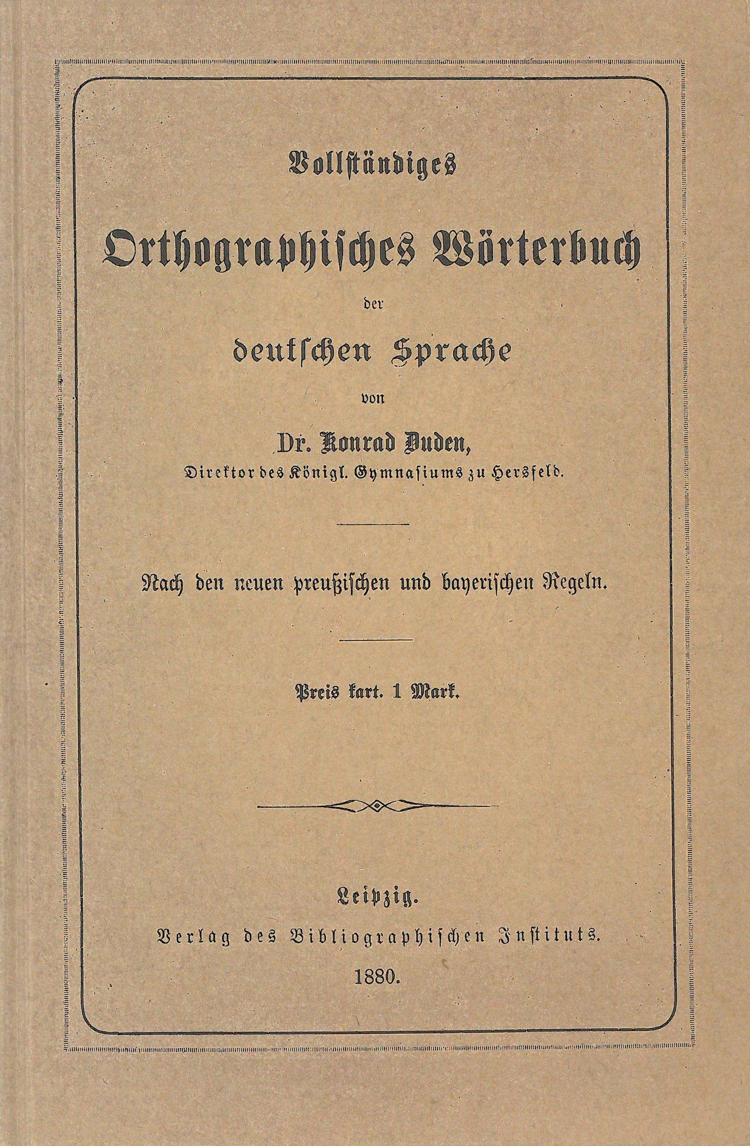 Buchcover Duden von 1880