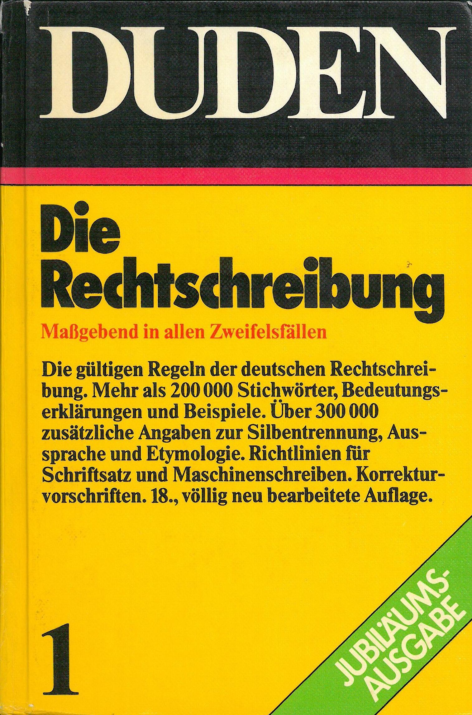 Buchcover Duden von 1980 BRD
