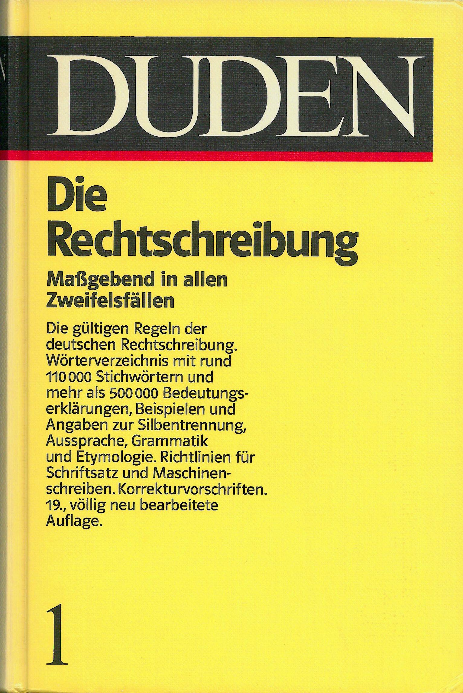 Buchcover Duden von 1986 BRD