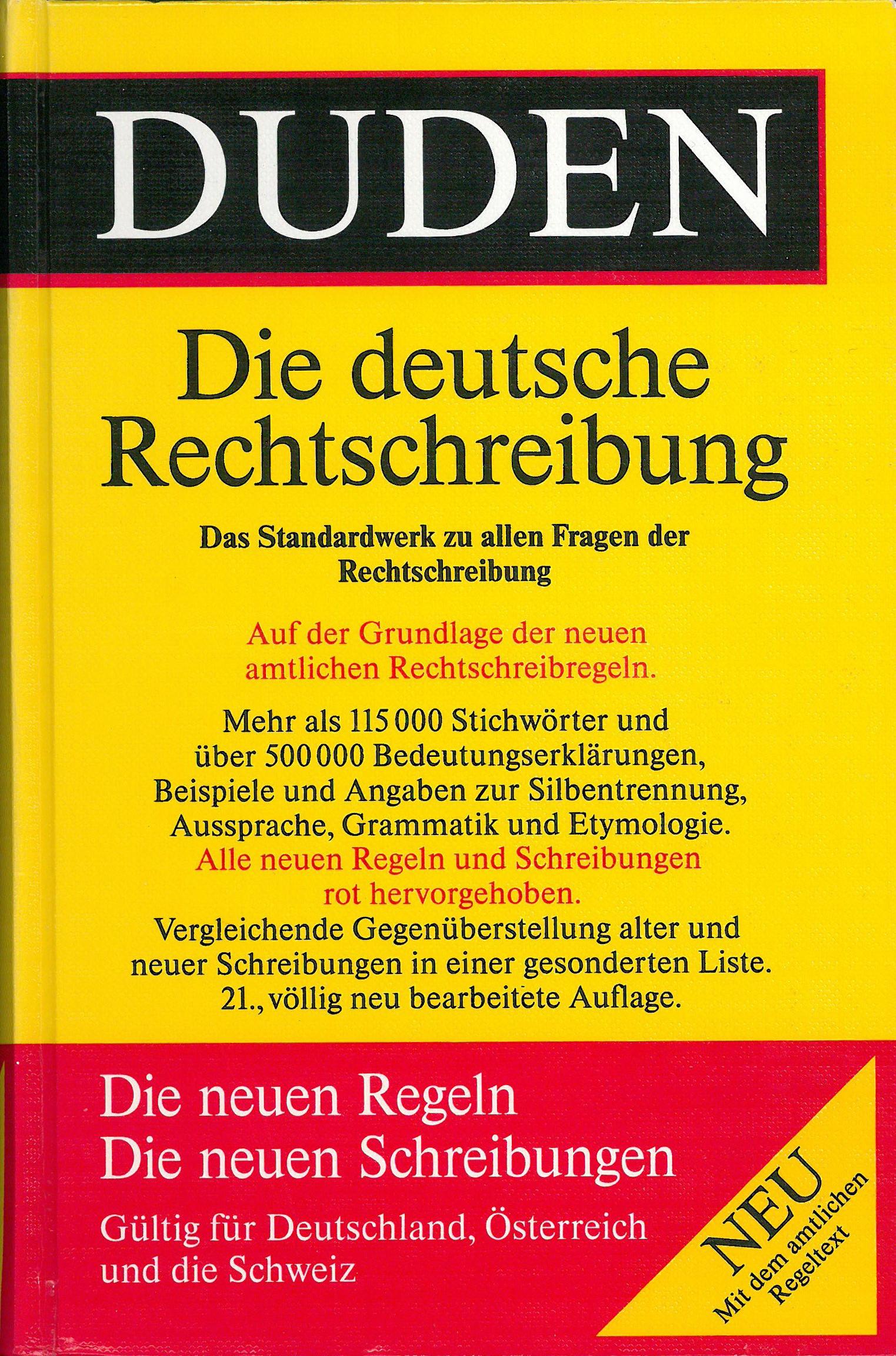 Buchcover Duden von 1996