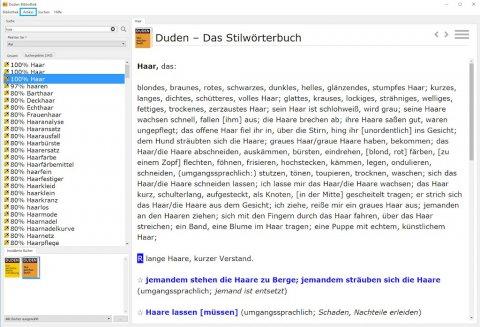 Screenshot: die Duden-Bibliothek unter Windows