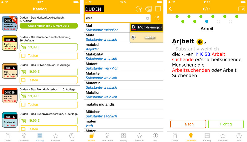 Screenshot: Duden-Apps