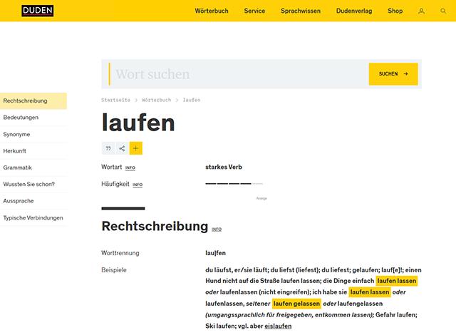 Screenshot: Wörterbuchseite auf duden.de